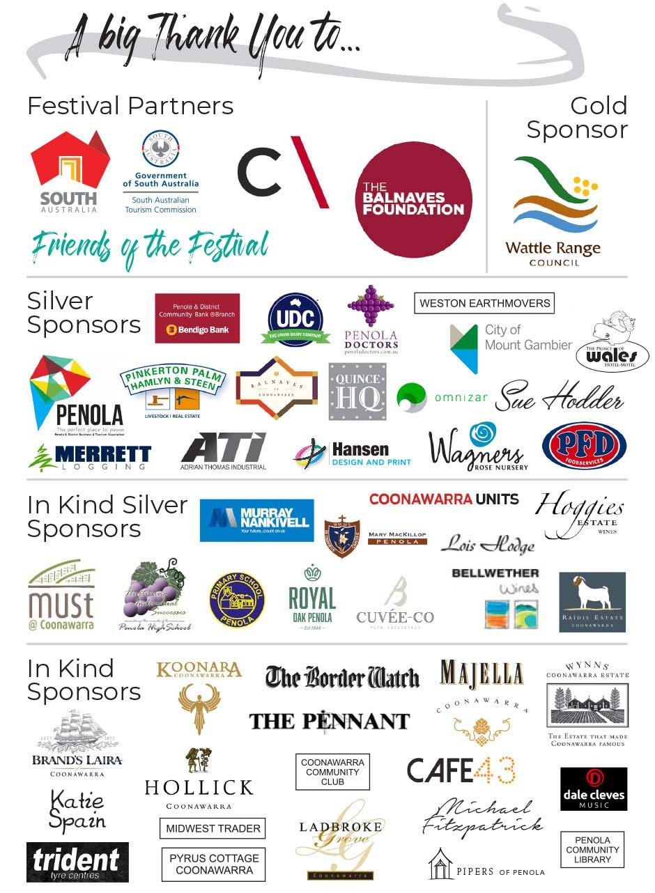 Penola Coonawarra Arts Festival Sponsors 2019